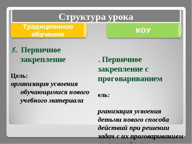 5. Первичное закрепление с проговариванием Цель: организация усвоения детьми...