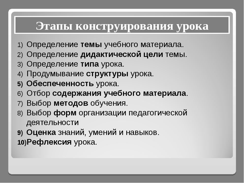 Этапы конструирования урока Определение темы учебного материала. Определение...