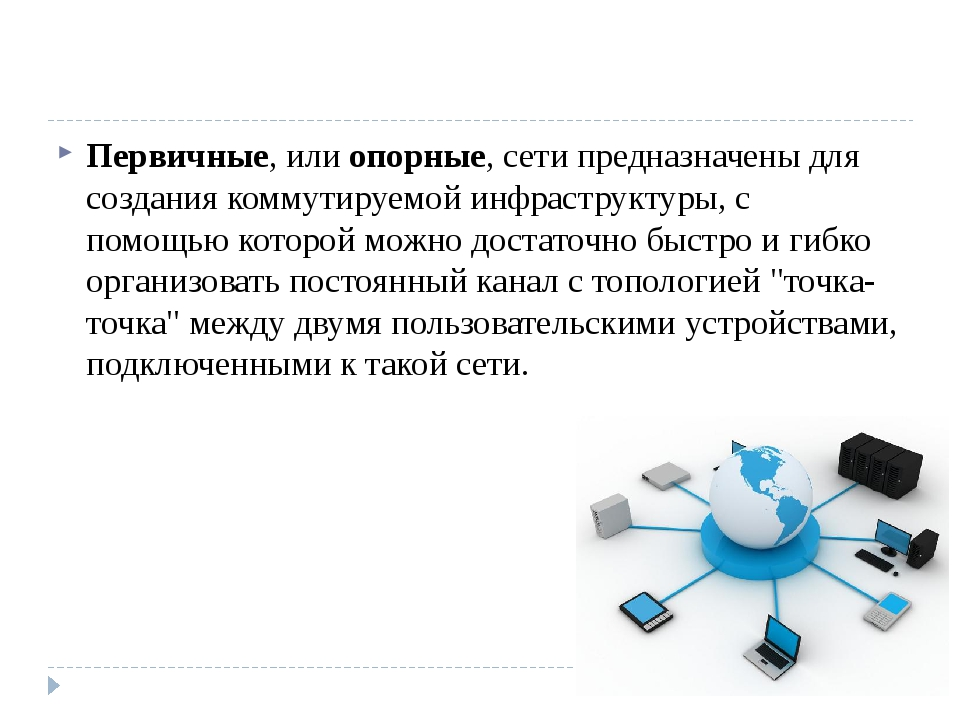 Первичные, илиопорные, сети предназначены для создания коммутируемой инфрас...