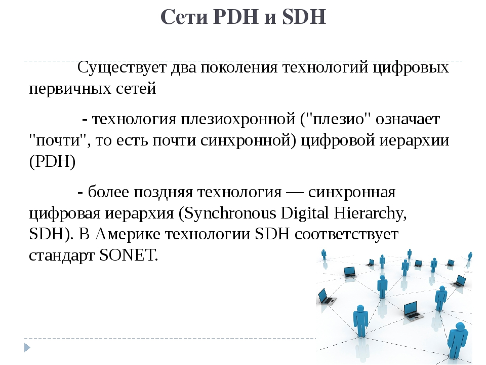 Сети PDH и SDH Существует два поколения технологий цифровых первичных сетей...