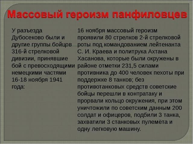 У разъезда Дубосеково были и другие группы бойцов 316-й стрелковой дивизии, п...