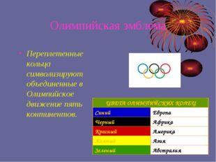 Олимпийская эмблема Переплетенные кольца символизируют объединенные в Олимпий