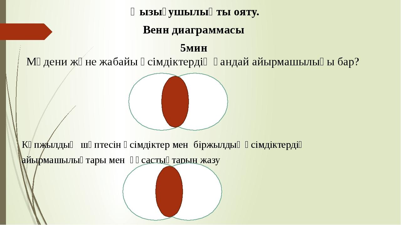 Қызығушылықты ояту. Венн диаграммасы 5мин Мәдени және жабайы өсімдіктердің қ...