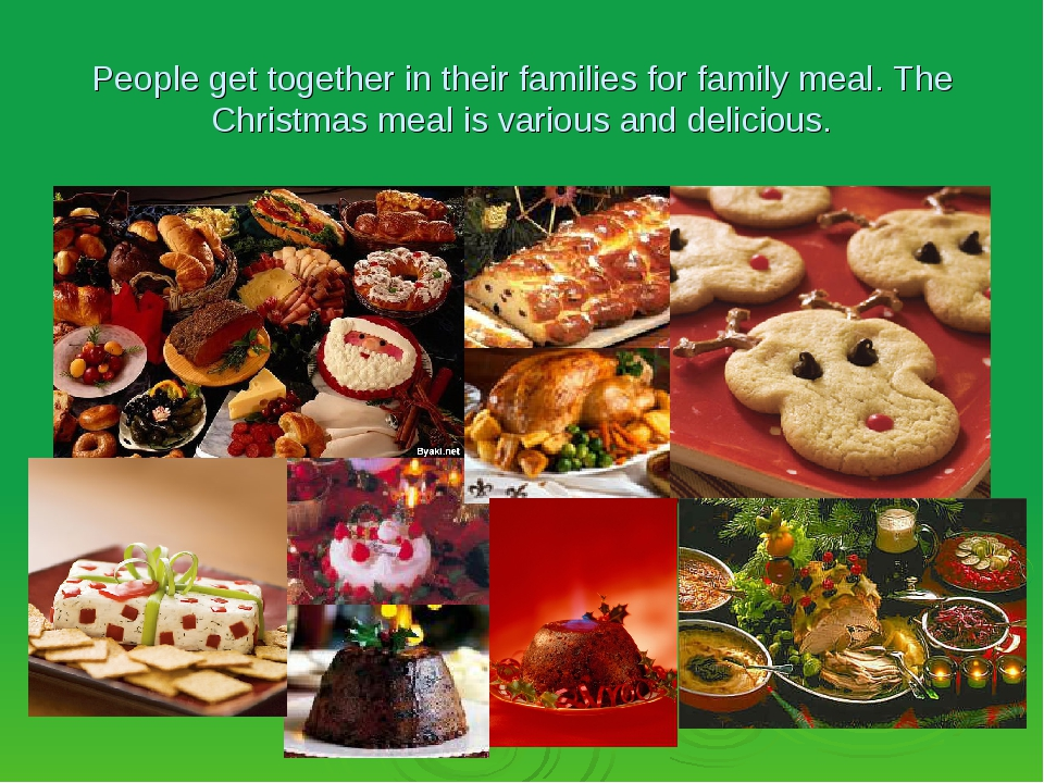 People get together in their families for family meal. The Christmas meal is...