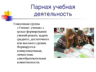 Парная учебная деятельность Гомогенная группа «Ученик- ученик» с целью формир