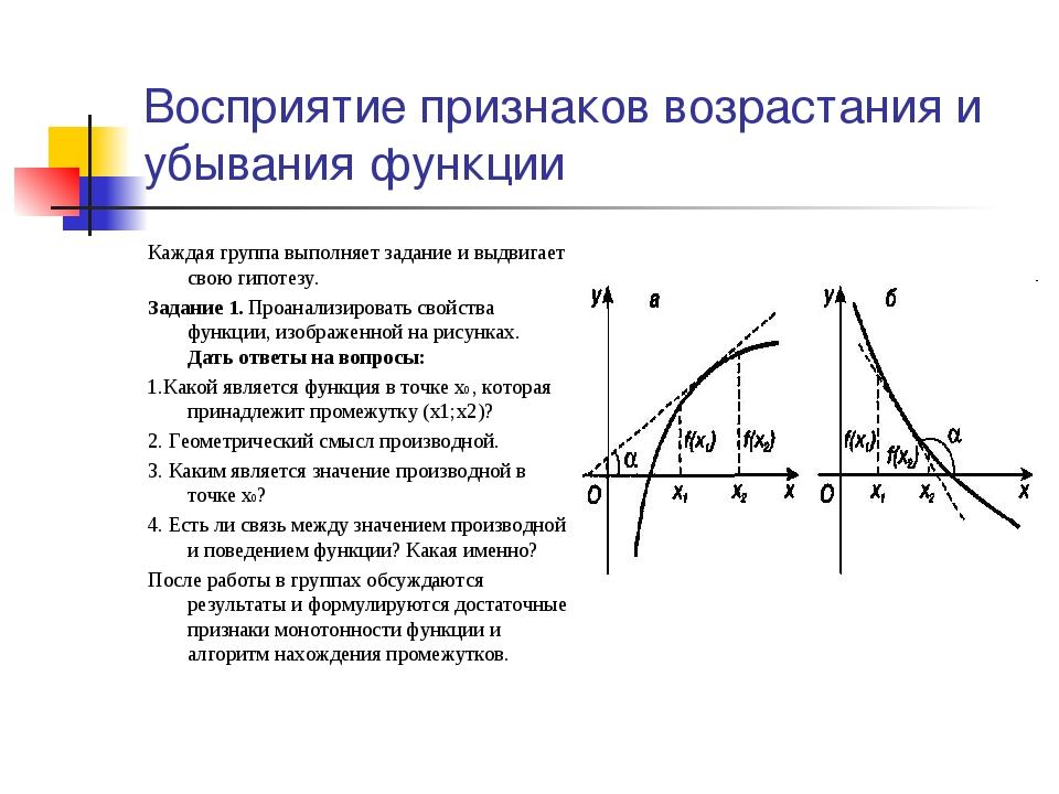 Восприятие признаков возрастания и убывания функции Каждая группа выполняет з...
