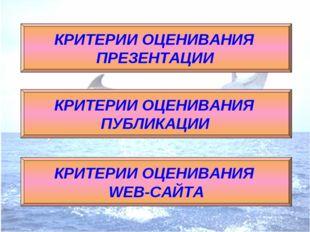 КРИТЕРИИ ОЦЕНИВАНИЯ ПРЕЗЕНТАЦИИ КРИТЕРИИ ОЦЕНИВАНИЯ ПУБЛИКАЦИИ КРИТЕРИИ ОЦЕНИ