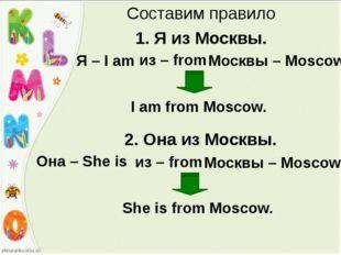 Составим правило 1. Я из Москвы. Я – I am из – from Москвы – Moscow I am from
