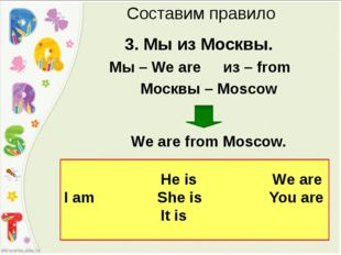 3. Мы из Москвы. Мы – We are из – from Москвы – Moscow We are from Moscow. С