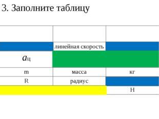 3. Заполните таблицу Обозначение Физическая величина Единица измерения в СИ v
