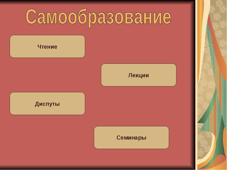 Чтение Лекции Семинары Диспуты
