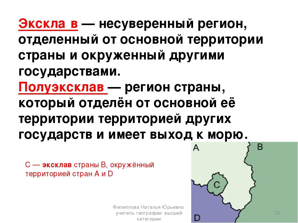 Экскла́в— несуверенный регион, отделенный от основной территории страны и ок...