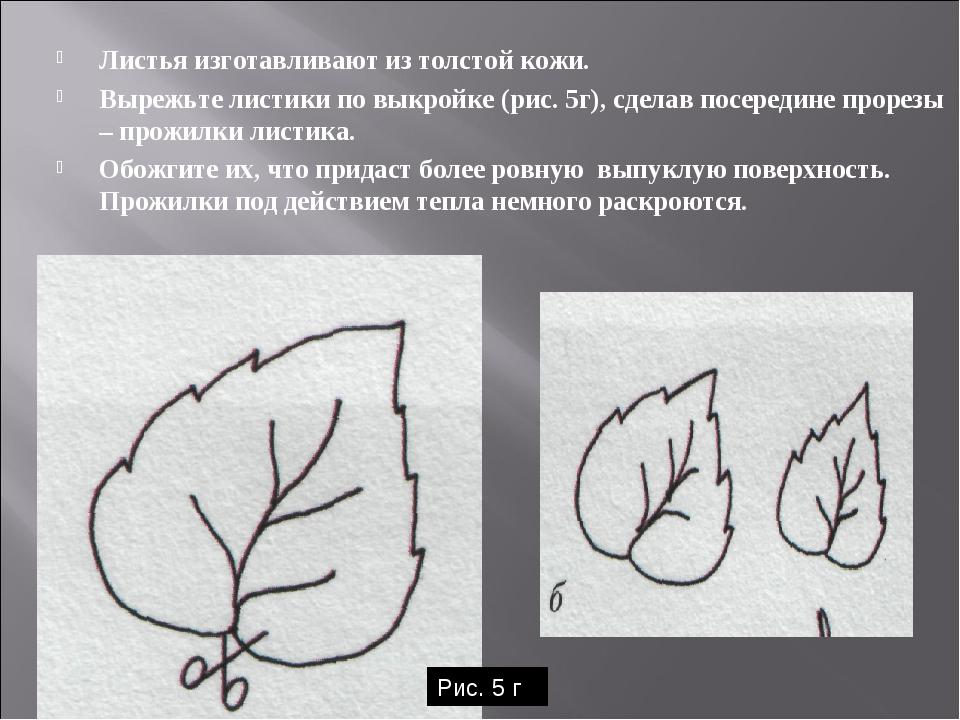 Листья изготавливают из толстой кожи. Вырежьте листики по выкройке (рис. 5г),...