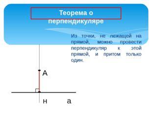 А н а Из точки, не лежащей на прямой, можно провести перпендикуляр к этой пр