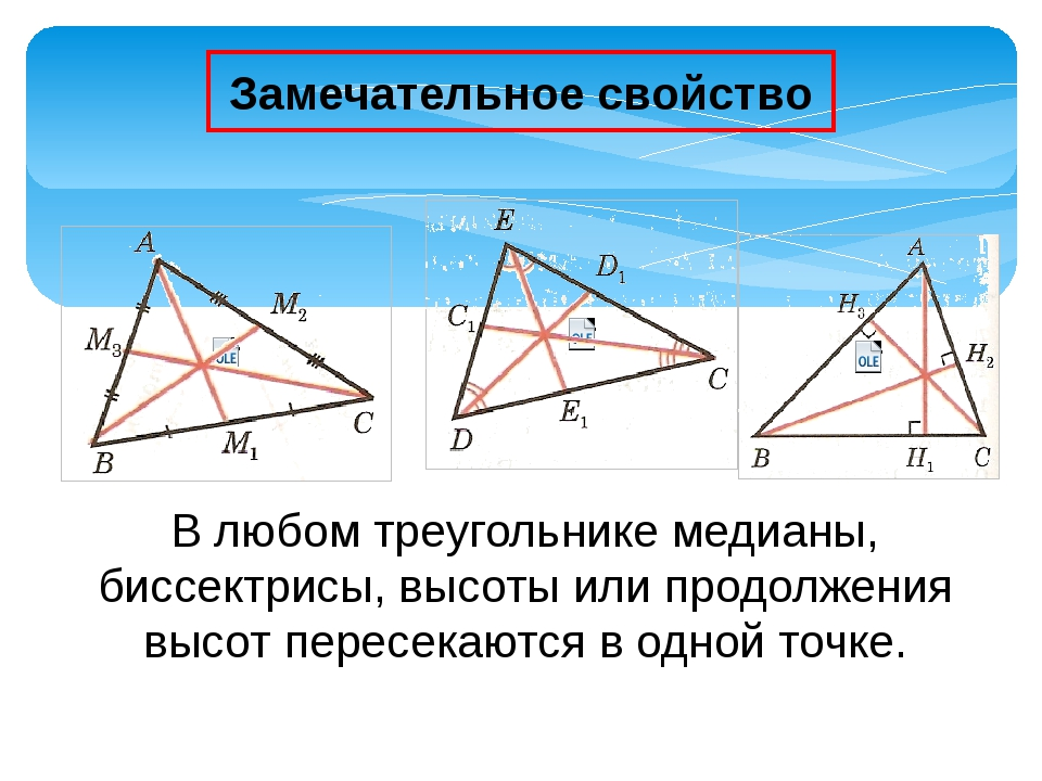 Замечательное свойство В любом треугольнике медианы, биссектрисы, высоты или...