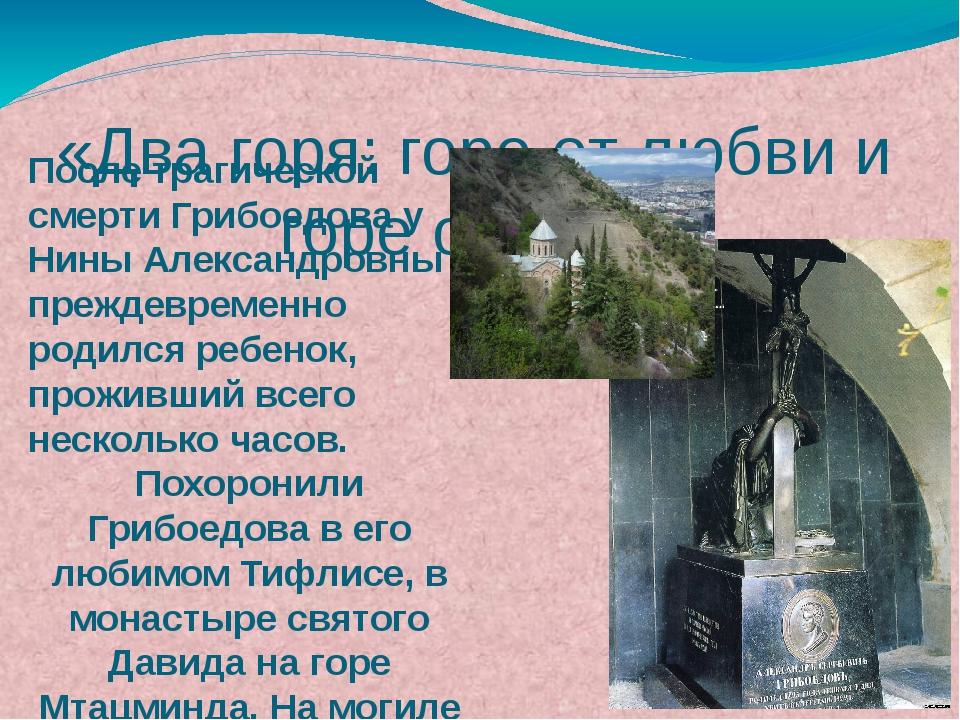 После трагической смерти Грибоедова у Нины Александровны преждевременно родил...