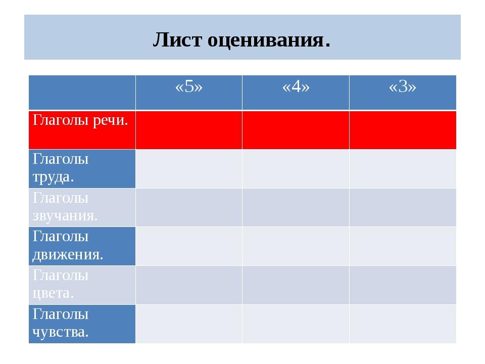 Лист оценивания.  «5» «4» «3» Глаголы речи. Глаголытруда.    Глаголызвуча...