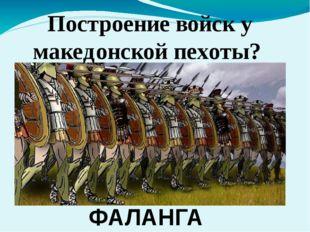Построение войск у македонской пехоты? ФАЛАНГА