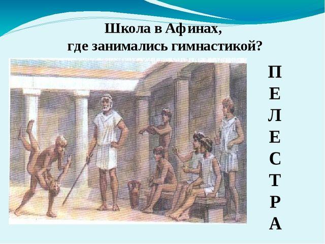 Школа в Афинах, где занимались гимнастикой? П Е Л Е С Т Р А