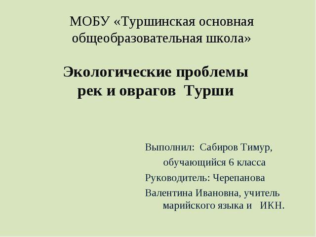 МОБУ «Туршинская основная общеобразовательная школа» Экологические проблемы р...