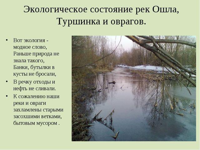 Экологическое состояние рек Ошла, Туршинка и оврагов. Вот экология - модное...