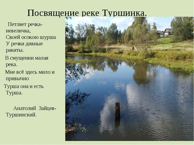 Посвящение реке Туршинка. Петляет речка-невеличка, Своей осокою шурша У речки...