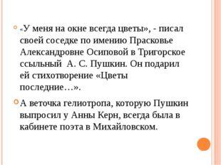 «У меня на окне всегда цветы», - писал своей соседке по имению Прасковье Але