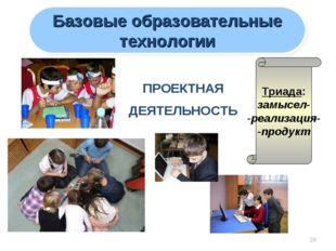 * Базовые образовательные технологии ПРОЕКТНАЯ ДЕЯТЕЛЬНОСТЬ Триада: замысел-