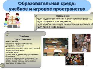 * Образовательная среда: учебное и игровое пространства Назначение: для под