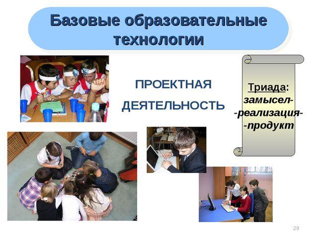 * Базовые образовательные технологии ПРОЕКТНАЯ ДЕЯТЕЛЬНОСТЬ Триада: замысел-...