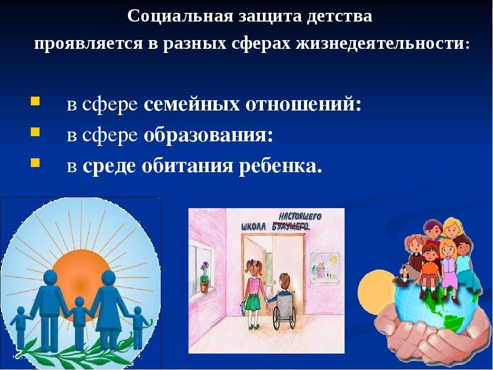 в сфересемейных отношений: в сфереобразования: всреде обитания ребенка. Со...