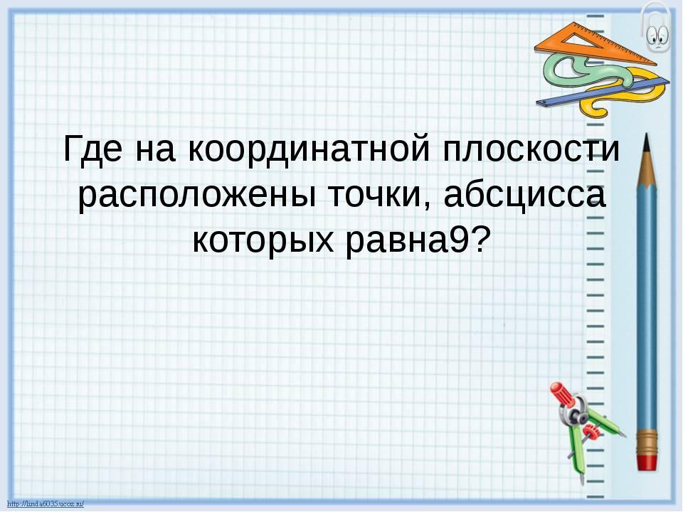Где на координатной плоскости расположены точки, абсцисса которых равна9?