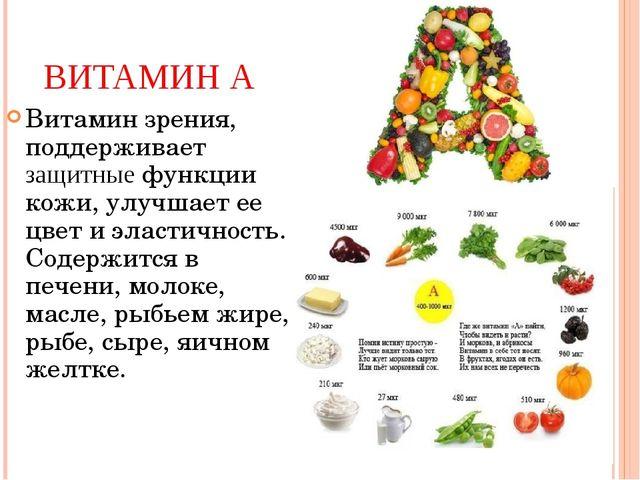 ВИТАМИН А Витамин зрения, поддерживает защитные функции кожи, улучшает ее цве...