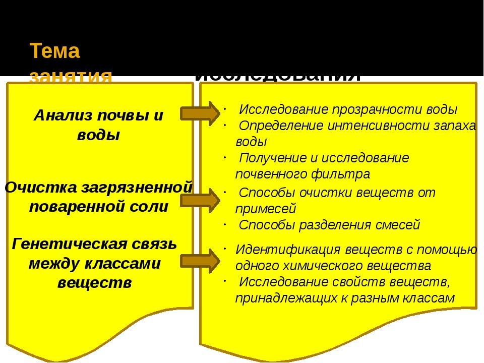 Тема занятия Направления исследования Анализ почвы и воды Исследование прозр...