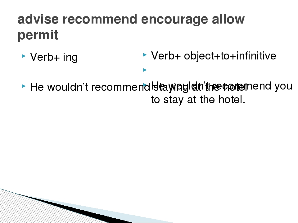 Verb+ ing He wouldn't recommend staying at the hotel advise recommend encoura...