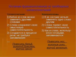 Отличие фразеологизмов от свободных словосочетаний Словосочетания 1)Любое из