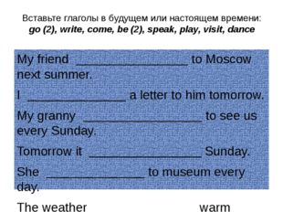 Вставьте глаголы в будущем или настоящем времени: go (2), write, come, be (2)