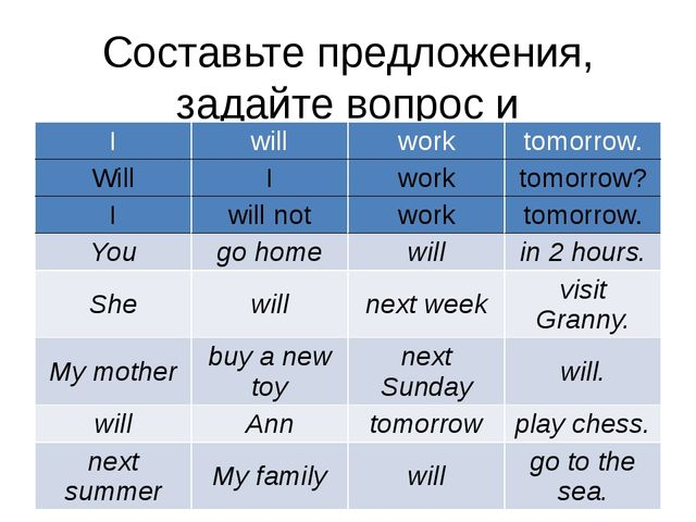 Составьте предложения, задайте вопрос и опровергните их: I will work tomorrow...