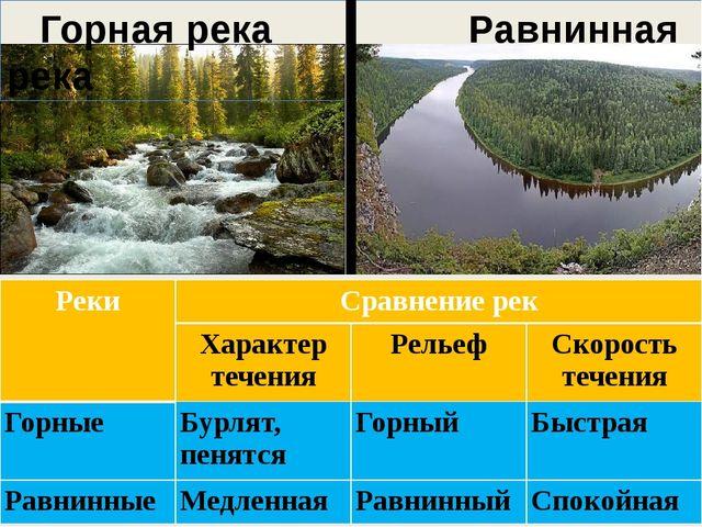 Горная река Равнинная река Реки Сравнениерек Характер течения Рельеф Скорост...