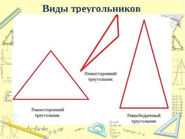 Виды треугольников Равносторонний треугольник Разносторонний треугольник Равн...