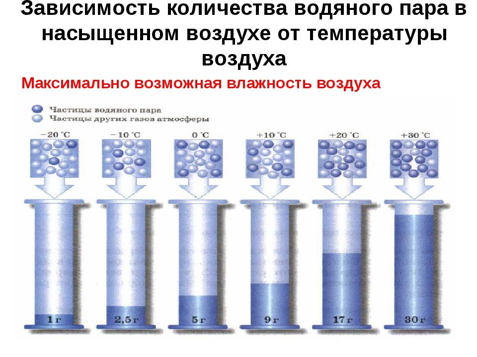 Зависимость количества водяного пара в насыщенном воздухе от температуры возд...