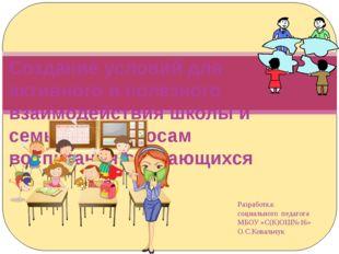 Разработка: социального педагога МБОУ «С(К)ОШ№16» О.С.Ковальчук Создание усло