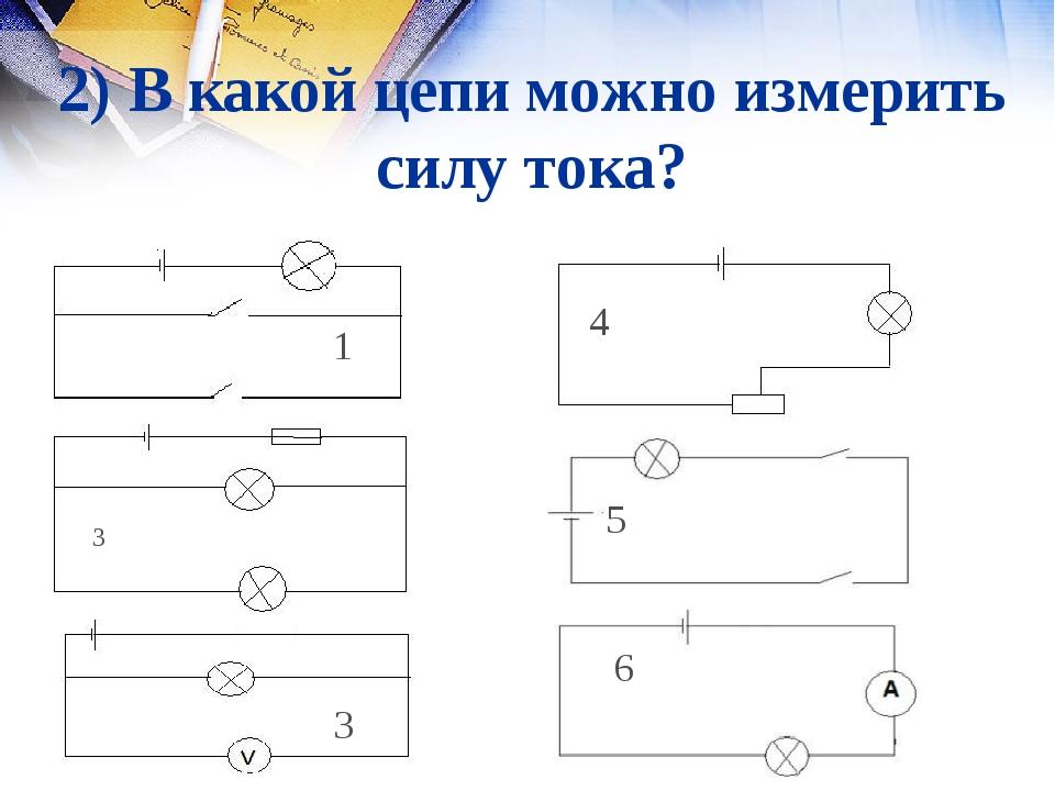 2) В какой цепи можно измерить силу тока? 3 1 2 3 4 5 6 1 5 6 4 2 3