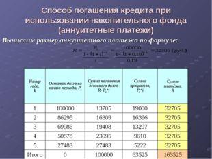 Способ погашения кредита при использовании накопительного фонда (аннуитетные