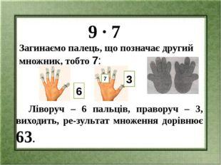 9 ∙ 7 Загинаємо палець, що позначає другий множник, тобто 7: Ліворуч – 6 пал