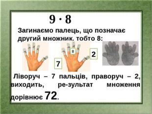 9 ∙ 8 Загинаємо палець, що позначає другий множник, тобто 8: Ліворуч – 7 пал