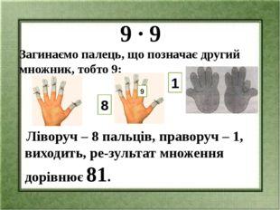 9 ∙ 9 Загинаємо палець, що позначає другий множник, тобто 9: Ліворуч – 8 пал