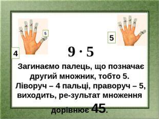 9 ∙ 5 Загинаємо палець, що позначає другий множник, тобто 5. Ліворуч – 4 пал