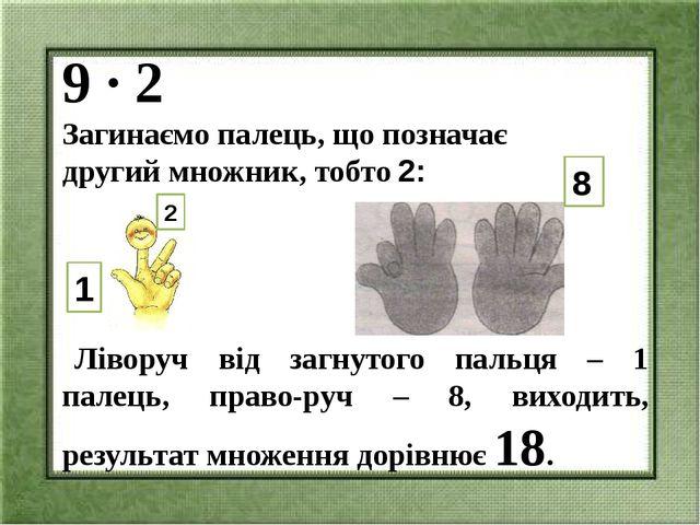 9 ∙ 2 Загинаємо палець, що позначає другий множник, тобто 2: Ліворуч від загн...