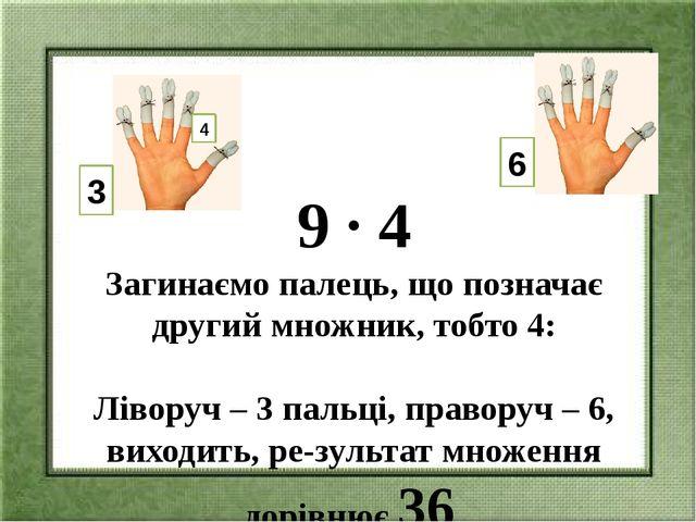 9 ∙ 4 Загинаємо палець, що позначає другий множник, тобто 4:  Ліворуч – 3 па...